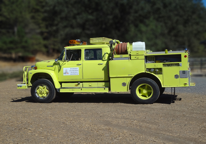 PurFire regulation fire engine with 500-gallon capacity and 300psi hose.